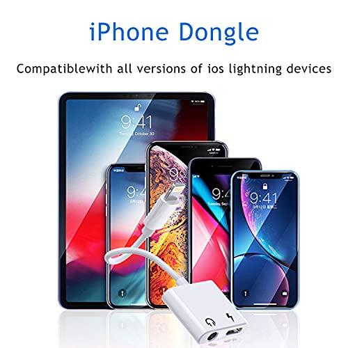 [2 en 1]Adaptador de iPhone,Apple MFi Certificado Lightning a 3.5 mm Jack Aux Audio Auriculares Compatible con iPhone 12/11/8 Adaptador de audio para auriculares,compatible con todos IOS sistemas iOS