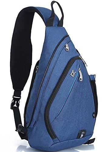 IX Cross-body Back Pack - Shoulder Backpack - Sling - Chest Bag - Sports Holder - Gym Baggage - Travel Luggage - Camping Rucksack (Blue)