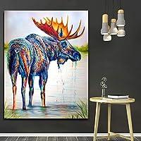 キャンバス絵画抽象動物カラフルな羊鹿現代の壁アートプリントポスター北欧のリビングルーム家の装飾70x100cmフレームレス