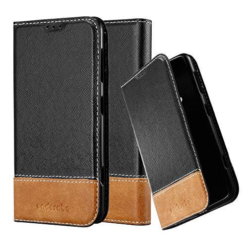Cadorabo Hülle für Nokia Lumia 625 - Hülle in SCHWARZ BRAUN – Handyhülle mit Standfunktion und Kartenfach aus Einer Kunstlederkombi - Case Cover Schutzhülle Etui Tasche Book