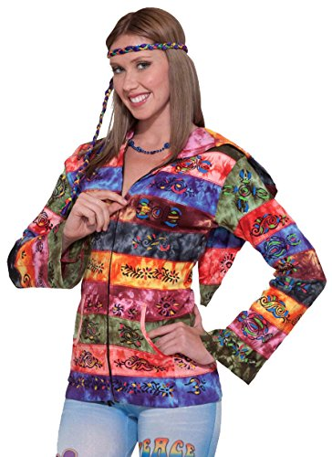 Forum Novelties 60's 70's Hippie Hooded Rainbow Costume Jacket Adult Standard