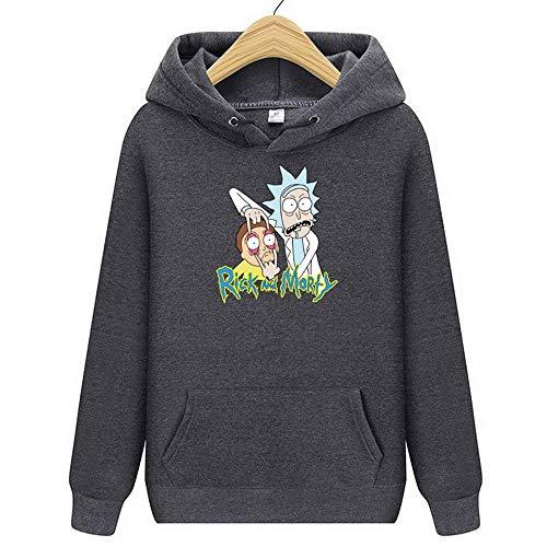 WANLN Hoodies Rick Und Mortys 3-D Printed Plain Pullover Hoody Top Hoodie Für Herren Und Damen Mit Kapuze Sweatshirts,Dark Gray,XXXL