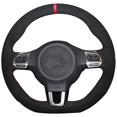 Suede Genuine Leather Steering Wheel Cover for Volkswagen Golf 6 GTI MK6 VW Polo GTI Scirocco R Passat CC R-Line 2010