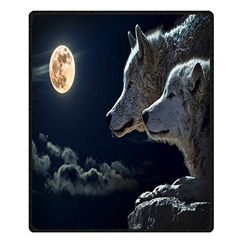 Stillshine Couvertures et Plaids Moelleux Doux 3D Galaxy Wolf Plush Couverture de Lit Couverture Television pour Adulte Enfant Canapé Ou Lit (Loup des neiges, 80 x 130 cm)