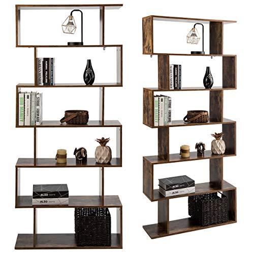 COSTWAY Libreria in Legno Scaffale Multifunzionale a 6 Ripiani per Piante e Libri per Ufficio Casa Ripiano a Forma di S, 80 x 23 x 192 cm (caffè)