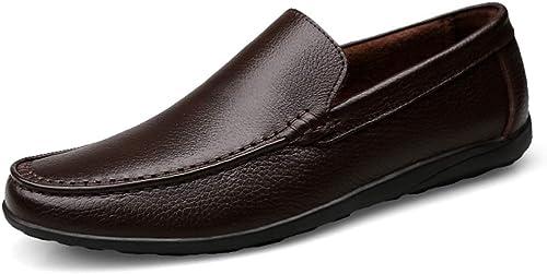 Easy Go Shopping Breathable Loafer Casual Stiefelschuhe Business gefüttert Oxford Slip-On Stil aus echtem Leder Flache Ferse runde Zehe,Grille Schuhe