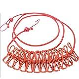 折りたたみ洗濯ロープ 12個クリップ付き防風 室内 室外 ベランダ 洗濯用ハンガー アウトドア 旅行用品