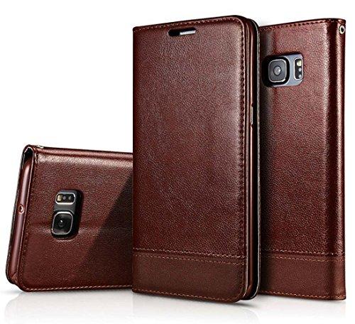 Funda tipo libro de piel sintética de calidad, con imán de los dos lados, diseñada para Samsung Galaxy S6 Edge