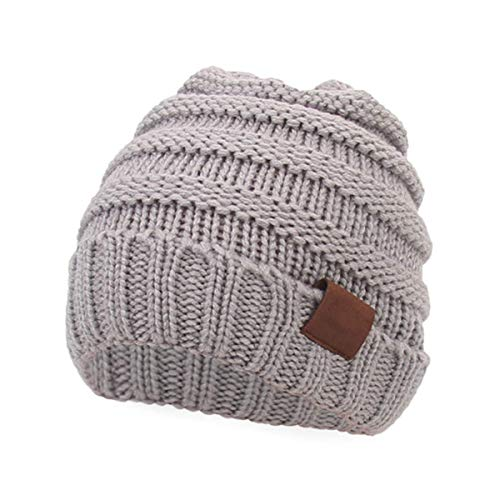 Kids Baby Toddler Cable Ribbed Knit Children's Winter Hat Beanie Cap (Light Grey)