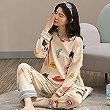 ZXXFR Pijamas de Mujer Pantalón de Manga Larga con Botones Tipo cárdigan de algodón Estampado Conjuntos de Pijama,Pijama Set Mujer 2 Piezas, cómodo y Transpirable Suave Ropa de casa