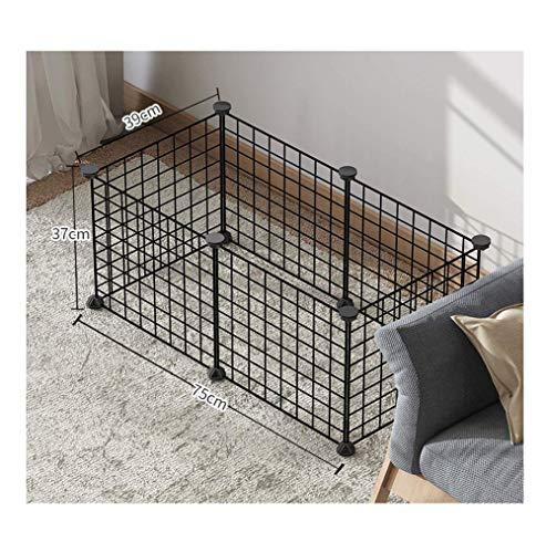 GBY Haustierzaun, rechteckiger Haustierzaun, geeignet für kleine Hunde und Landschildkröten, schwarz, 75 * 39 * 37 cm