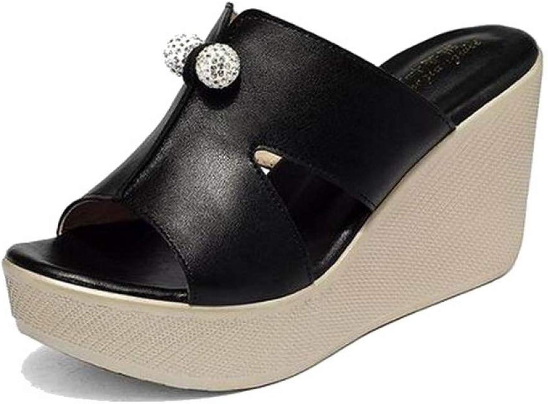 T-JULY Genuine Leather Platform Wedges Sandals Women Fashion High Heels Female Summer shoes Summer
