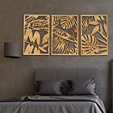 Mostertera Leaves Wall Art decor 3 Panel Wooden (Natural, L : 46.4 x 23 inches)