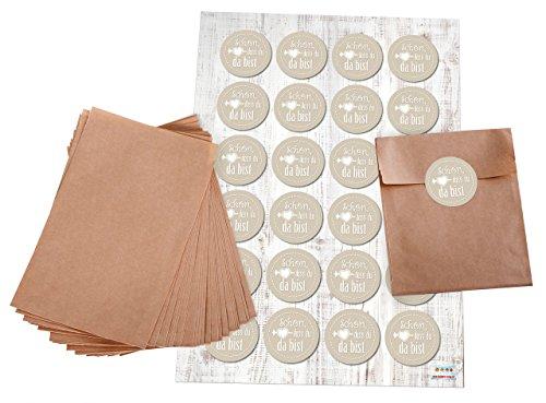 Pochettes Cadeaux?: 24 Marron Sacs Papier (10,5 x 15 cm) et plates Set de 24 Pièces autocollants patch macaron brodeur 4 cm (Beige) \