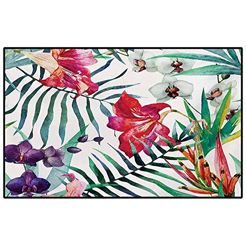 Watercolor Flower Soft Rugs for Living Room Tropical Wild Orchid Flowers with Palm Leaves Print Exotic Style Nature Office Chair mat for Carpet Multicolor 6 x 7 Ft