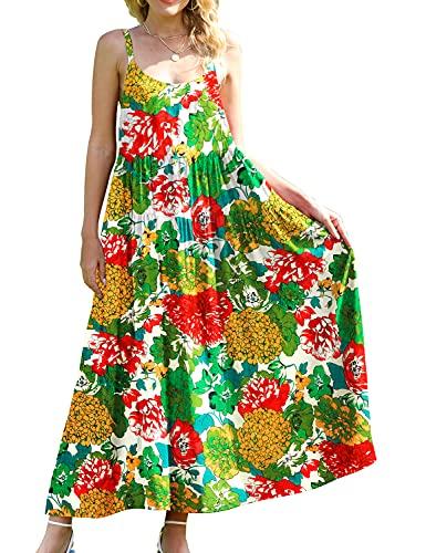 YESNO Women Casual Loose Bohemian Floral Print Dresses Spaghetti Strap Long Maxi Summer Beach Swing Dress XS-5X XS E75 CR10