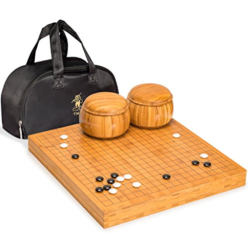 Yellow Mountain Imports Go Game Set with Bamboo Go Board (2 Inches Thick), Double Convex Melamine Stones and Bamboo Bowls