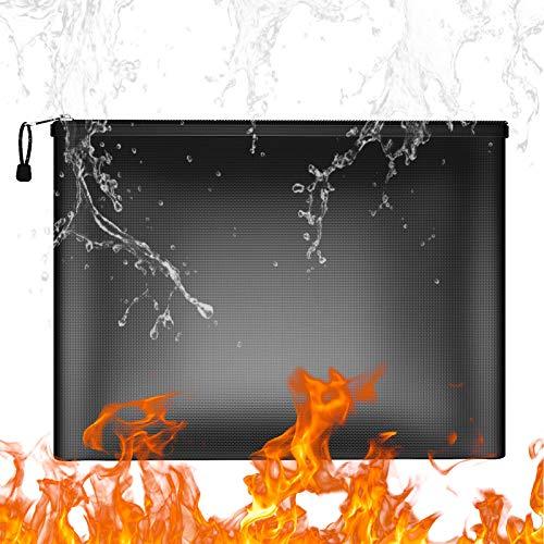Bolsa protectora de documentos ignífuga e impermeable, 38x 28cm Bolsa de archivos a prueba de fuego A4 con cremallera resistente al fuego para efectivo, batería de carga, pasaporte y objetos de valor