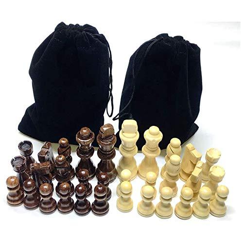 Schackpjäser, trä schackdelar med förvaringsväska & dekoration i flanellbas, 7,5 cm kung, försämringsdesign, för utbyte av saknade delar
