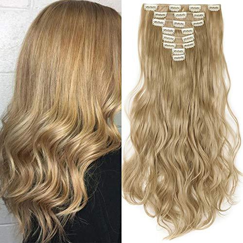 TESS Haarteile Clip in Extensions wie Echthaar günstig Haarverlängerung 8 Pcs 18 Clips Haarteil Hair Extensions Gewellt 17