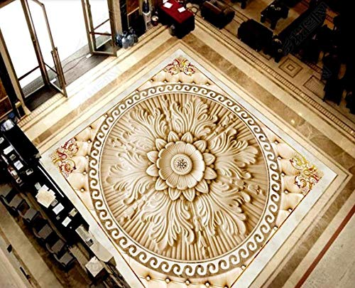 Personalizar suelo 3d Papel pintado de flores en relieve de estilo europeo para habitación suelo de pvc papel tapiz autoadhesivo para suelo mural 3d-400 * 280cm