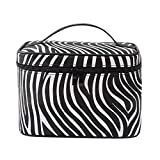 HOYOFO Large Makeup Bag Travel Cosmetic Bags With Makeup Brush Holder Waterproof Portable Toiletry Storage for Women, Zebra Pattern