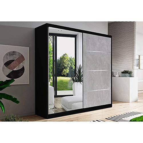 Kleiderschrank Schwebetürenschrank 2-türig Schrank mit zusätzlichen Stauraum (Schrankaufsatz) vielen Einlegeböden und Kleiderstange Gaderobe Schiebtüren BxHxT 183x218x61 - Beton (Schwarz)