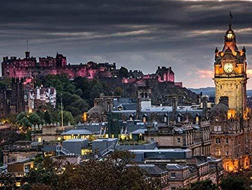 Bzdthh Rompecabezas de 1000 piezas, juegos para adultos, póster de paisaje castillo de Edimburgo, rompecabezas de madera, juegos educativos, juegos de rompecabezas para familia