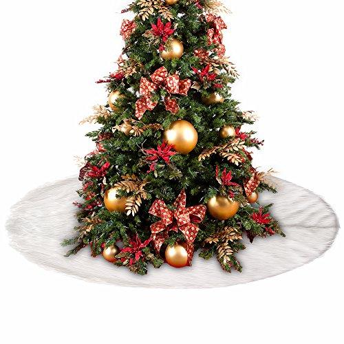 FullLove Weiß Weihnachtsbaumdecke aus Filz - Durchmesser 90cm bis 152cm Rund - Weihnachtsbaum Decke Christbaumdecke (122cm)