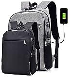 Rucksack Herren Damen Diebstahlschutz Laptop Rucksack Daypack mit USB Ladeanschluss Wasserabweisender Sport Studentenrucksack Schulrucksack (grau)
