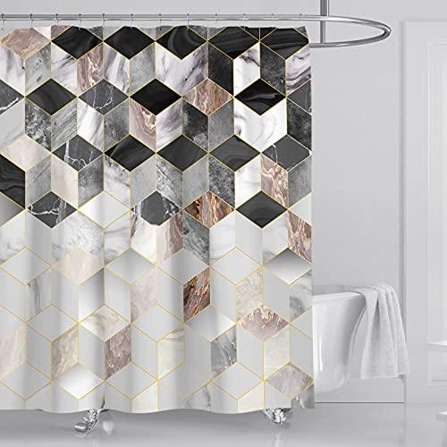 Meyuxg Cortina de ducha antimoho, diseño de mosaico abstracto, color pastel, retro, azulejos de rombo, tela de baño, juego de decoración con ganchos, color café, 180 x 200 cm