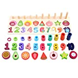 MAyouth Wooden Puzzles Set Toddler - Numbers Shapes And Fruits Recognition Toy Educational Puzzles...