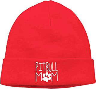 09&JGJG Pitbull Mom Unisex Soft Beanie Hats Winter Warm Knit Beanie Cap