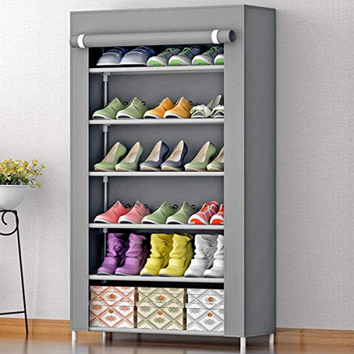 AYSIS Multipurpose Portable Folding Shoes Rack 6 Tiers Multi-Purpose Shoe Storage Organizer Cabinet Tower with Iron and Nonwoven Fabric with Zippered Dustproof Cover (6_Grey)(Shoes Rack for Home)