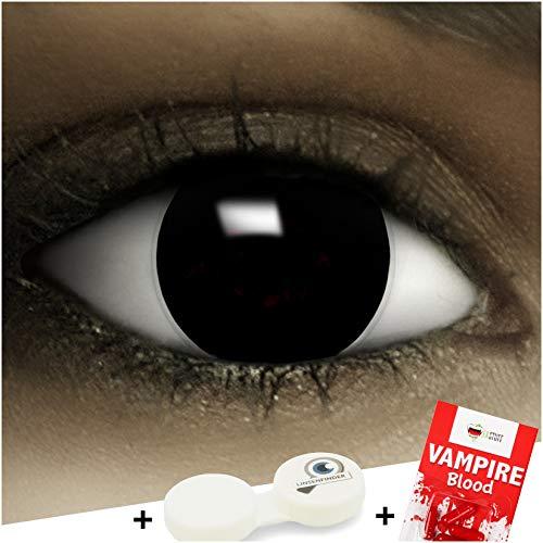 """Farbige schwarze Kontaktlinsen""""Black"""" + Kunstblut Kapseln + Behälter von FXCONTACTS, weich, ohne Stärke als 2er Pack - perfekt zu Halloween, Karneval, Fasching oder Fasnacht"""