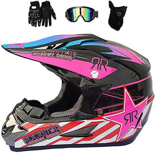 Motocross Helm Schwarz Rot, Damen Fullface Motorrad, Fullface MTB Helm Kinder Cross Helm Motorradhelm Fahrrad Enduro Downhill BMX Off Road ATV (S)