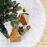 iMucci 36inch Christmas Tree Skirt Snowy White Plush Velvet - Holiday...