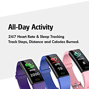ZURURU Fitness Tracker for Women & Men with Heart Rate Monitor, Activity Tracker, Waterproof Fitness Smart Watch Calorie Counter, 10 Sports Modes Step Counter for Fitbit Gift (Purple)