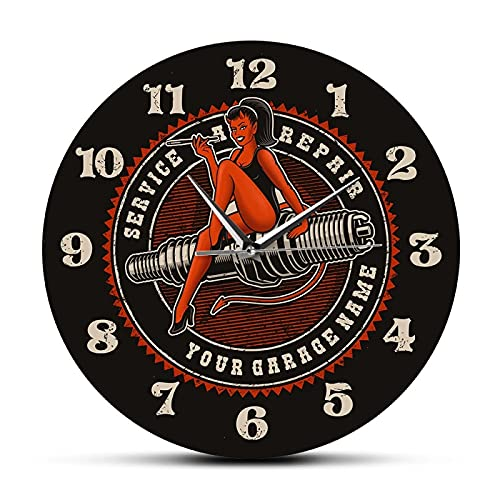 xinxin Reloj de Pared Devil Girl On Spark Plug Motor Auto Coche Servicio de reparación de Motocicletas Garaje Personalizado Reloj de Pared Hombre Cueva Reloj mecánico Personalizado