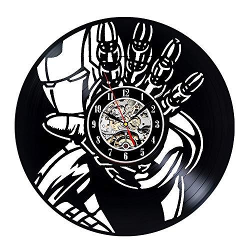 FANCYLIFE Klassische Marvel Movie Home Kreative Iron Man Vinyl Wanduhr
