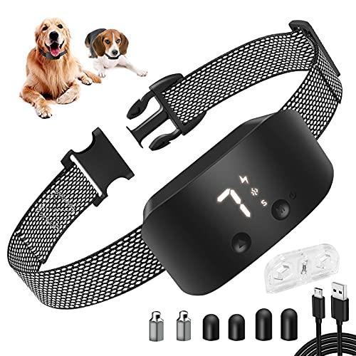Collar Antiladridos,Collar Adiestramiento Perros con Vibración, Sonido y Descarga Eléctrica, Collar Antiladridos Impermeable Recargable para Perros Pequeños, Medianos y Grandes