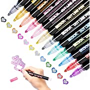 Double Line Outline Pens, Whaline 12 Colors Self-Outline Metallic Markers Glitter Writing Drawing Doodle Dazzle Pens for Christmas Card Writing, Birthday Greeting, Scrap Booking, DIY Art Crafts