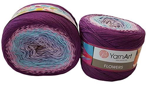 YarnArt Flowers 500 Gramm Bobbel Wolle Farbverlauf, 55{14f718d6d990c57e9eabac98d38c3fd48b1a78a493434570b9e81e5ff6cff6dd} Baumwolle, Bobble Strickwolle Mehrfarbig (lila rosa blau 280)