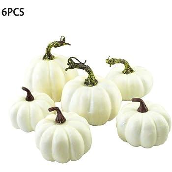 CHRONSTYLE 6 Künstlicher lebensechter Kürbis Gefälschter weißer Kürbis zur Dekoration Simulation Kürbisse für Halloween, Herbst und Erntedankfest Home House Kitchen Decorating (Weiß, OneSize)