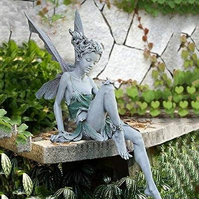 jianama Sitting Fairy Statue, Resin Sitting Fairy Portrait Garden Statue, Garden Ornaments Outdoor, Home Decoration Crafts Sculpture Art Figurine