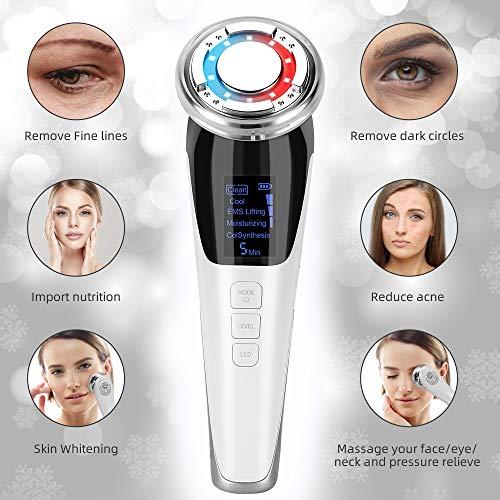 MANLI 5in1 Kosmetischer Ultraschallgerät Gesicht Schönheit Gerät Face Beauty Device Faltenentferner Gesichtsmassage, ION- Photon Funktion Heiß/Kühle Behandlung für Gesichtpflege Anti Falten Anti aging