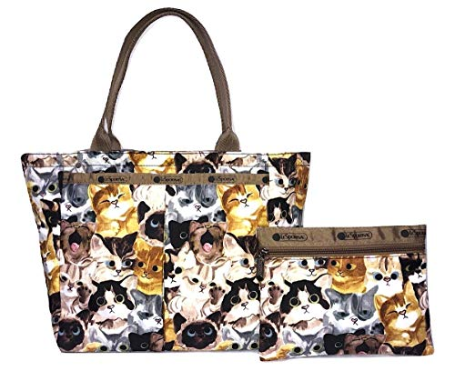 LeSportsac Cat Cafe Bene Small EveryGirl Tote Handbag and Cosmetic Bag, Style 7470/Color K812
