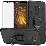DuoLide for Xiaomi Pocophone F1 Case/Poco F1 Case, 2 in 1 Hybrid Heavy Duty Armor Shockproof Defender Kickstand Dual Layer Bumper Hard Back Case Cover Tempered Glass Screen Protector,Black