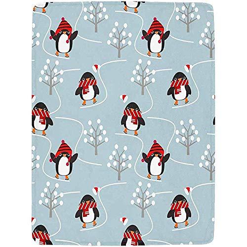 Annays Fleecedecke Niedliche Pinguine Spielen Schlittschuh Im Weihnachtswinter Elegante Superweiche Warme Sofa-Couch-Schoss-Decke 102x127CM