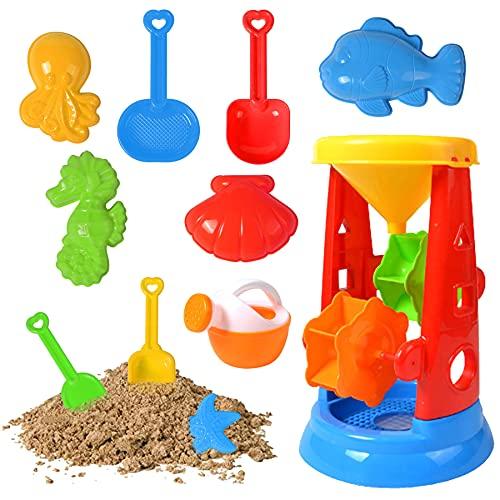 Sunshine smile 11PCS Sandspielzeug Set,Sandkasten-Eimer,Strand Spielzeug Sand Set,Strandspielzeug für Kleinkinder,Sandkasten-Spielzeug,Strandspielzeug Kinder,Sandkasten Spielzeug,Enthält Sanduhr